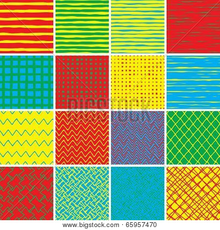 Basic Doodle Seamless Pattern Set No.2 In Colors