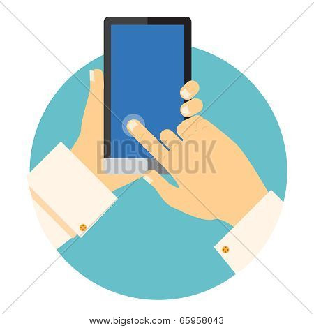 Hands holding a mobile phone circular icon