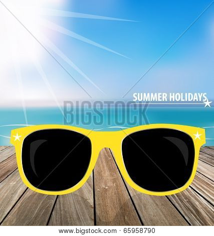 Summer holiday background. Sunglassess on wood terrace. Vector illustration.