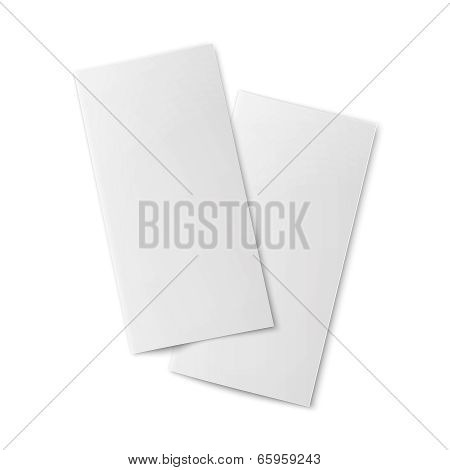 Pair of  blank bifold paper brochures.