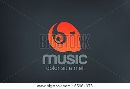 Head with Headphones listening Music vector logo design. Negative space creative concept icon.