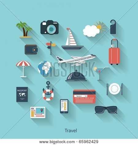Travel and tourism modern concept in flat design with long shadows and trendy colors for web, mobile applications, layouts, brochure covers etc. Vector eps10 illustration