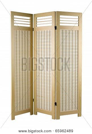 fabric partition with a wooden frame