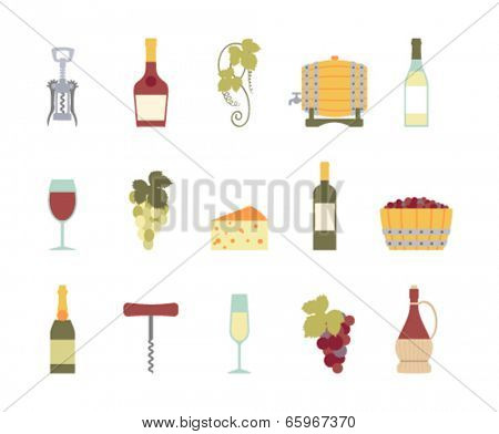 set of wine icons isolated on white