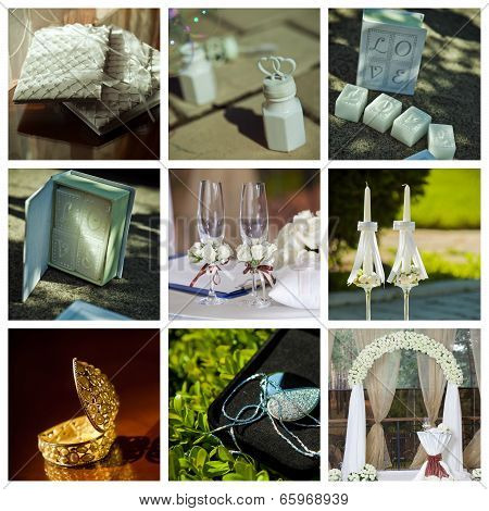 Collage Of Wedding Pictures Decorations In Light Colour