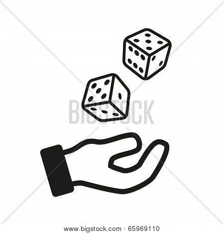 Male hand rolling dice isolated on white background. Vector