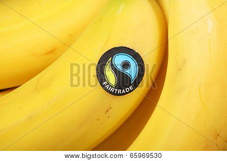 Fairtrade Sticker on Bananas