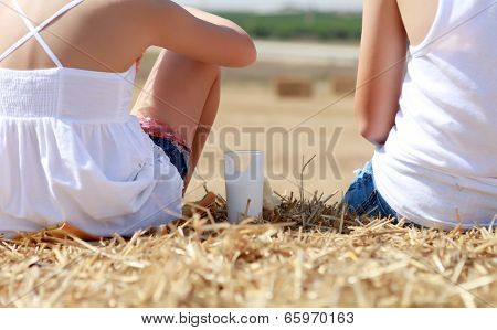 People Sitting On Hay