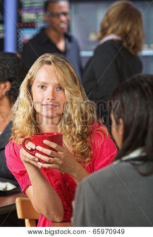 Cute Woman With Red Mug