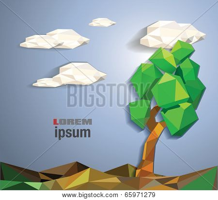 abstract summer low polygon tree vector illustration