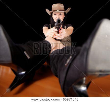 Brunette With A Gun