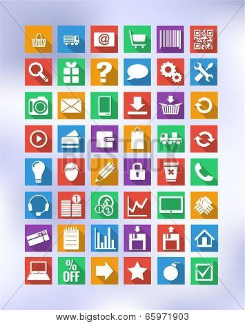 Colorful Icons For Eshop, Suitable For Flat Design