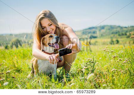 Dog and woman - modern world
