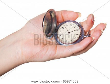 Clock In A Female Hand