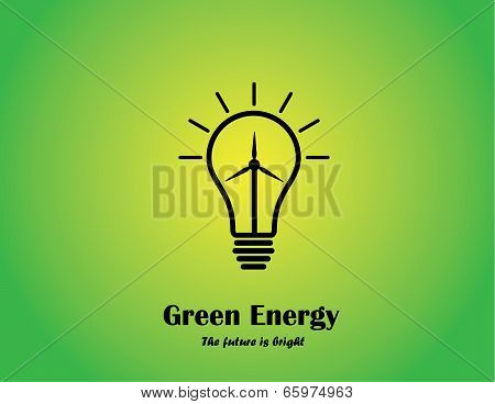 Bright Green Glowing Light Bulb With Wind Energy Bright Lightbulb Concept With Wind Mill Turbine.