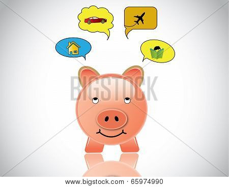 Happy Piggybank Planning To Buy Home Car Education And Travel. Glossy Pink Piggy Bank Day Dreaming O