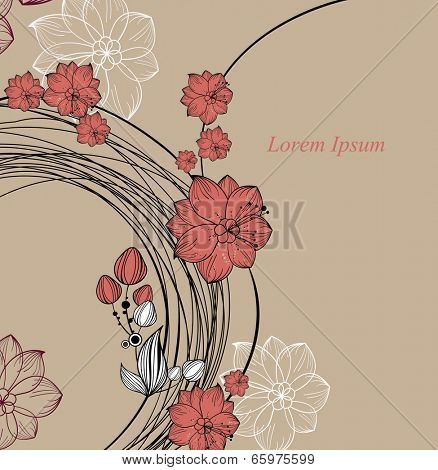 Beautiful greeting card with floral wreath. Bright illustration, can be used as creating card, invitation card for wedding,birthday and other holiday