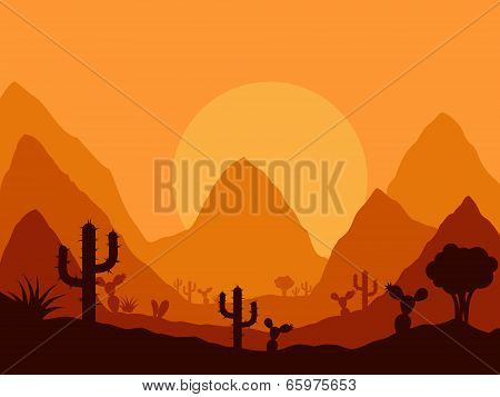 vector mexican sunset landscape with silhouette of cactus