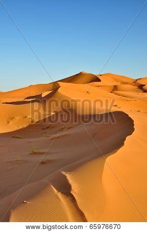 Golden sand of Merzouga desert in Morocco
