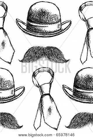 Sketch Hat, Tie And Mustache, Vector Seamless Pattern