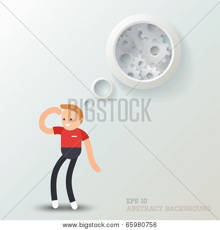 Vector illustration of a cartoon character: Man thinking