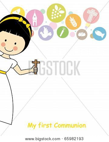 Girl first Communion Invitation Card