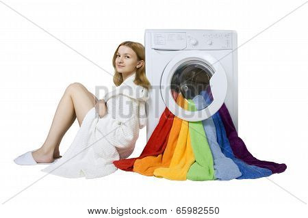 Beauty Young Girl And Washing Machine With Colorful Things To Wash, Isolated