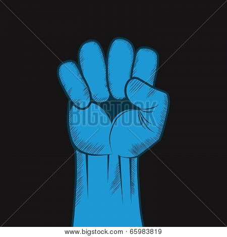 Clenched Fist Hand Vector.
