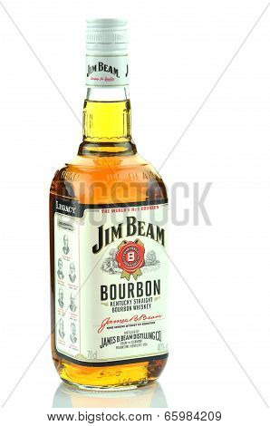 Jim Beam bourbon whiskey isolated on white background