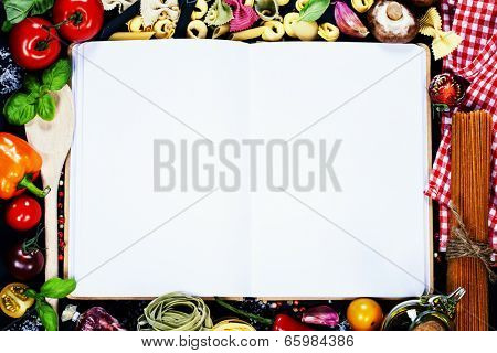 Fresh Organic Vegetables and Spices on a Wooden Background and Paper for Notes. Open Notebook and Fresh Vegetables Background. Italian ingredients