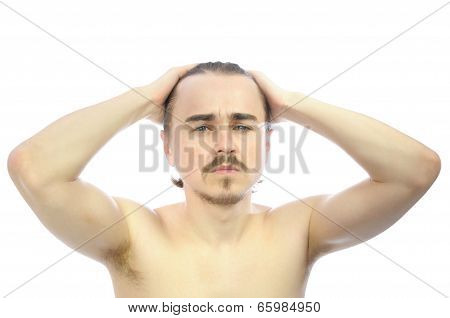 Caucasian Man  With Arms Behind His Head