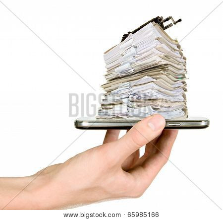 Man Is Showing Mobile Phone With Documents