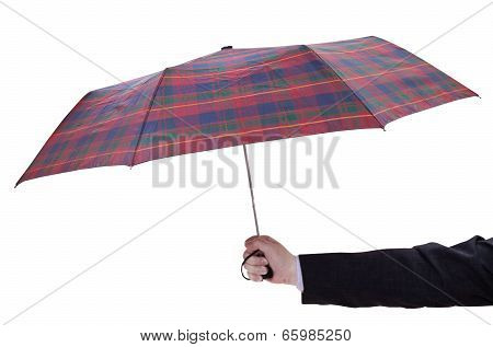 Man Holdind Open Checkered Umbrella