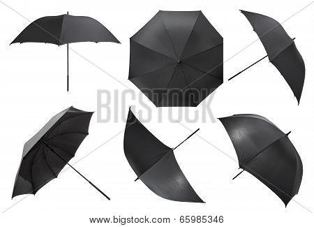 Set Of Open Black Large Umbrellas