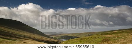Landscape Panorama View From Climb Up Corn Du Mountain In Brecon Beacons