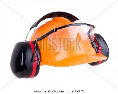 Industrial protection set including hard hat, safety goggles and earmuffs shot on white