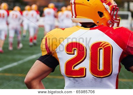 The player of american football stands on the field
