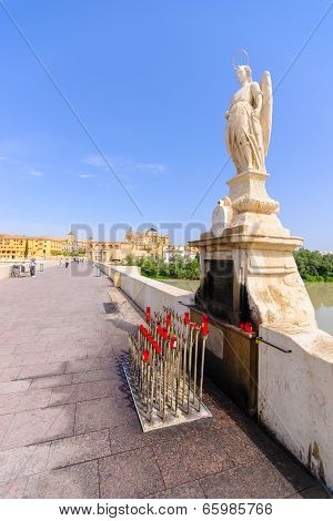 Archangel Raphael Statue On Bridge At Cordoba Spain -
