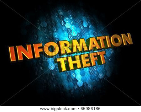 Information Theft - Gold 3D Words.