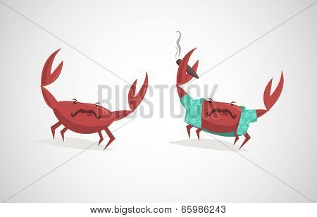 Vector illustration of two funny cartoon crabs with cigar