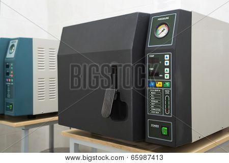 Laboratory autoclave sterilizer.