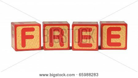 Free on Colored Wooden Childrens Alphabet Block.