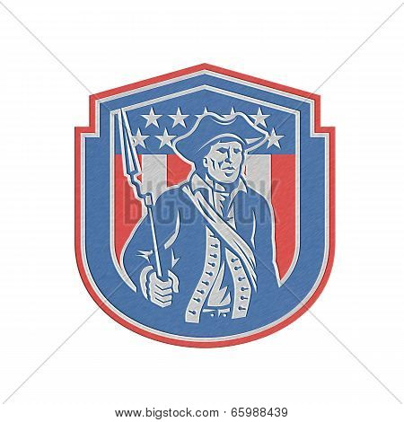 Metallic American Patriot Holding Bayonet Rifle Shield Retro