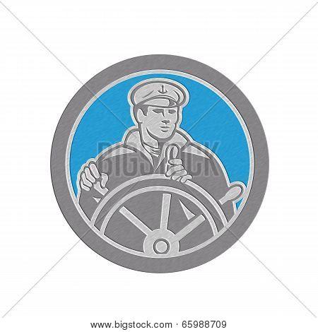 Metallic Fisherman Sea Captain Circle Retro