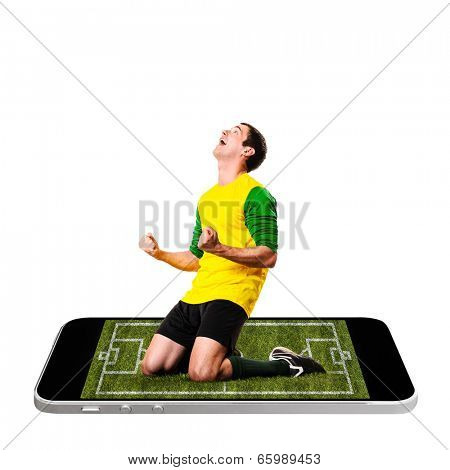 soccer or football player is celebrating on screen of modern phone
