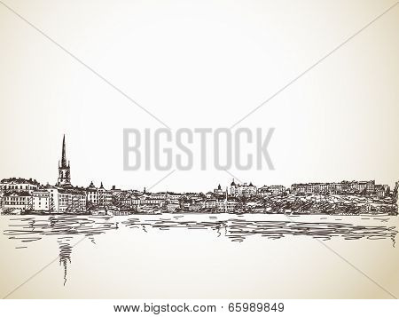 Skyline Sketch of Stockholm with water reflection. Hand drawn illustration.
