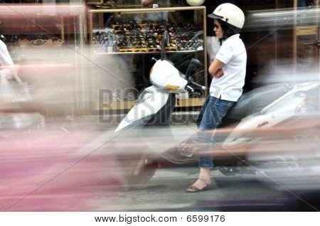 Bored Lady on a Bike