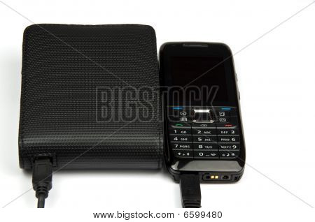 Mobile Phone Connected To External Hard Drive