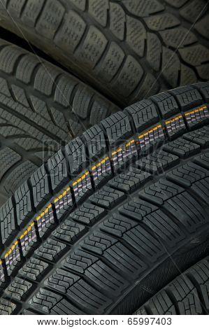 Tyre texture closeup os various patterns