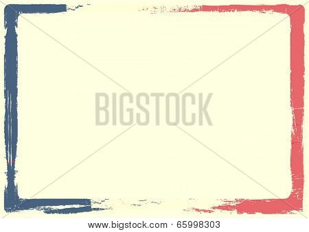 detailed background illustration of a french flag with grunge texture and white space, eps 10 vector
